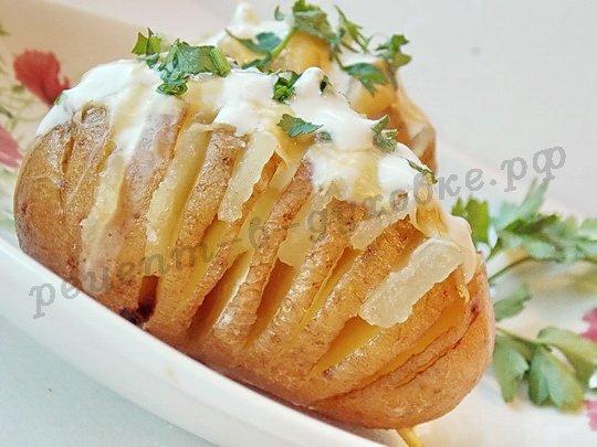 картошка-гармошка: рецепт с салом