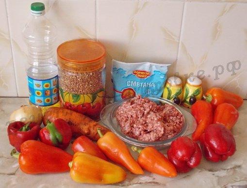 ингредиенты для лодочек из перца с гречкой