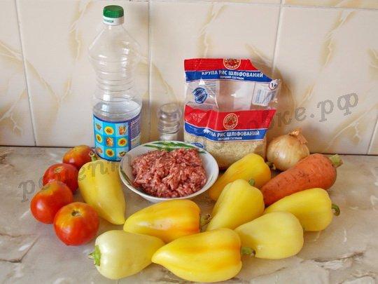 ингредиенты для перца с рисом и фаршем