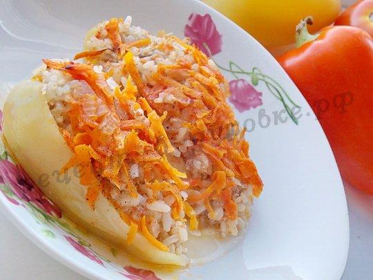 лодочки из перца с рисом и фаршем в духовке