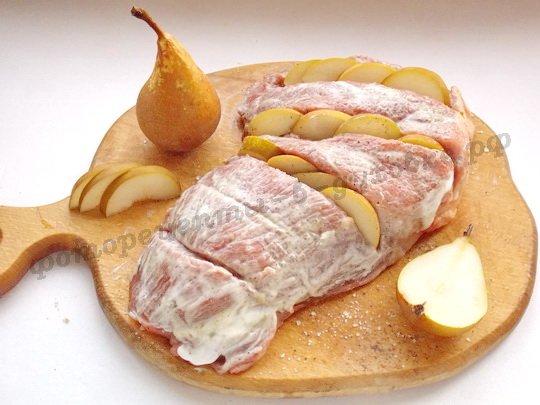 маринуем мясо с грушами