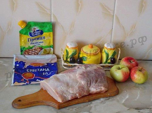 ингредиенты для антрекота из свинины с яблоками
