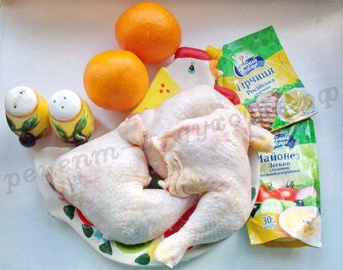 ингредиенты для курицы в апельсиновом маринаде