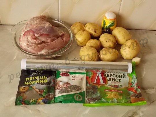 ингредиенты для запечённого мяса с картошкой