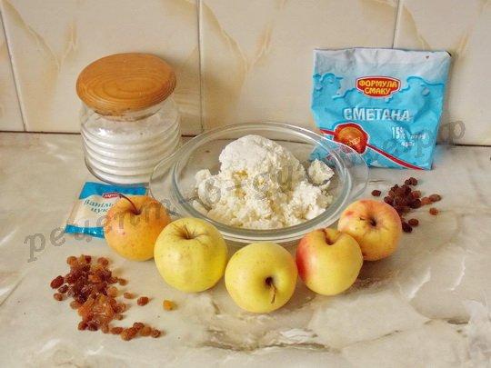 ингредиенты для яблок с творогом  в духовке