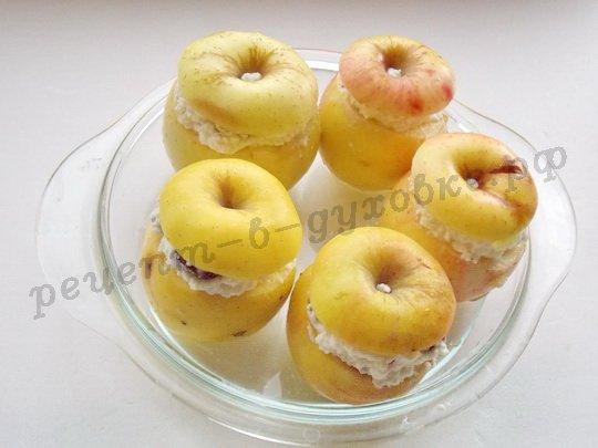 как приготовить печёные яблоки с творогом