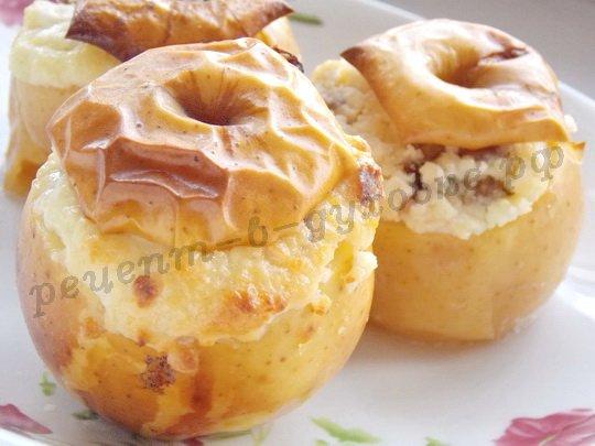 печёные яблоки с творогом и изюмом в духовке