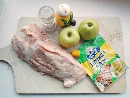 ингредиенты для мяса с яблоками