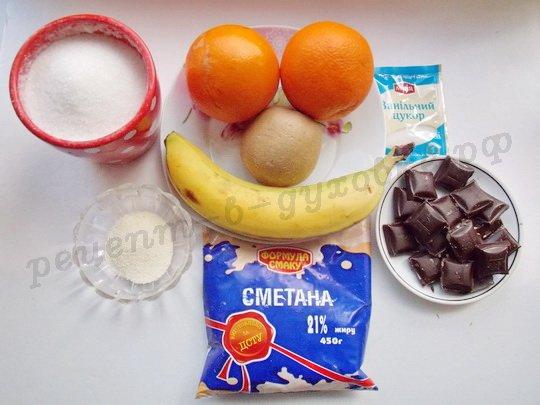 ингредиенты для апельсинов с фруктами и шоколадом
