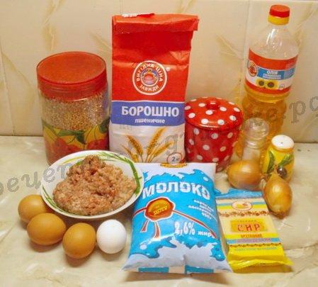 ингредиенты для блинчиков с гречкой и фаршем