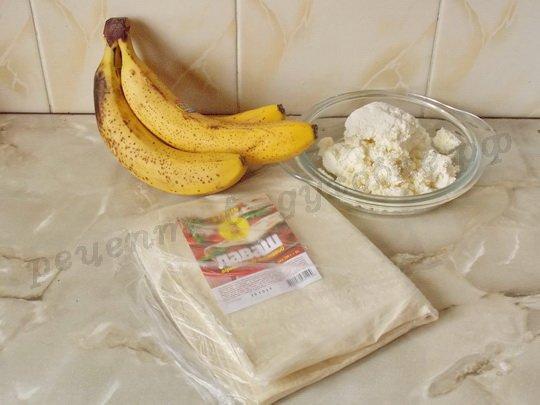 ингредиенты для лаваша с творогом и бананом