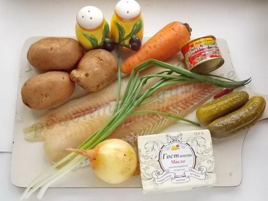 ингредиенты для рыбы в горшочках