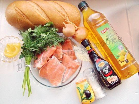 ингредиенты для горячих бутербродов с сёмгой