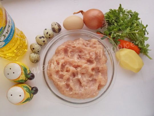 ингредиенты для куриного рулета с перепелиными яйцами