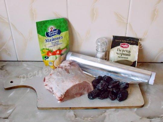 ингредиенты для мясного рулета с черносливом
