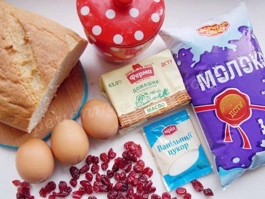 ингредиенты для хлебного пудинга
