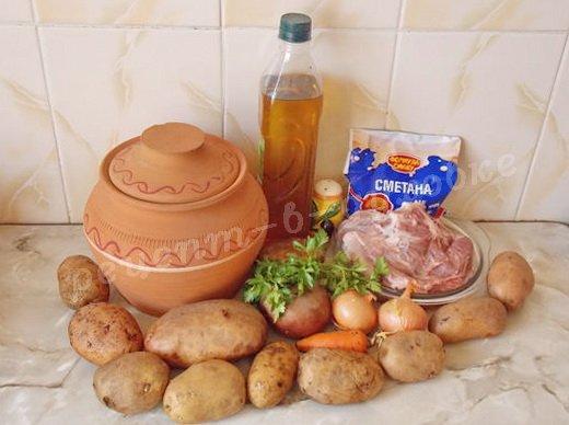 ингредиенты для жаркого с картошкой и мясом