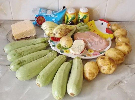 ингредиенты для кабачков с курицей
