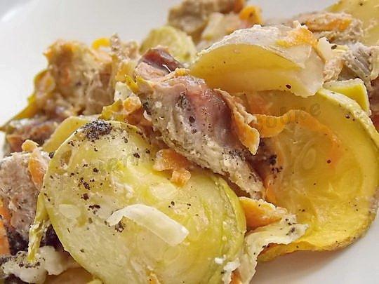 кабачки с мясом и картошкой