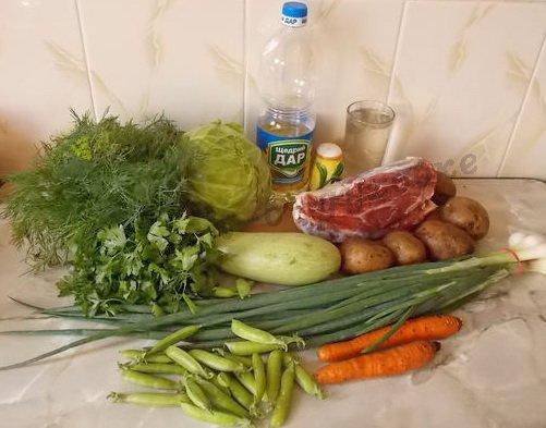 ингредиенты для овощного рагу с мясом