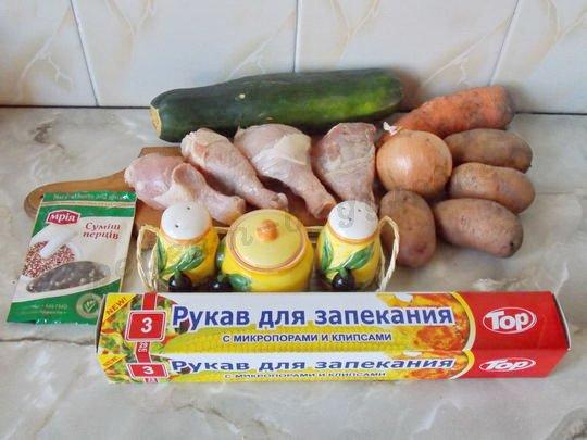 ингредиенты для жаркого с кабачком, картошкой и курицей