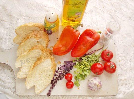 ингредиенты для брускетты со сладким перцем