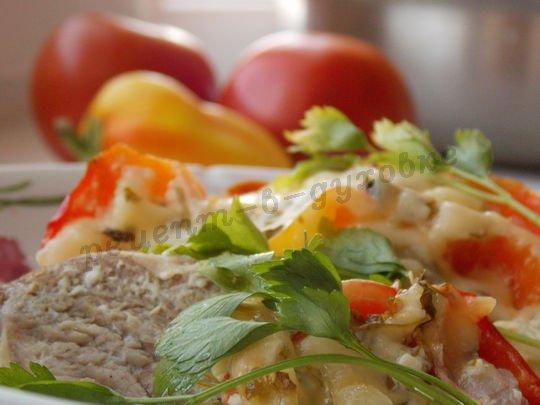 говядина под овощами