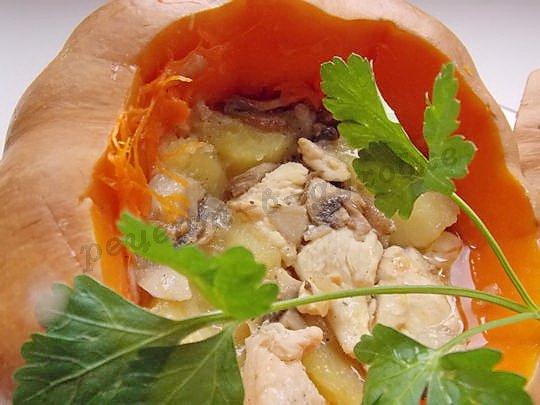запечённая тыква с куриным филе и шампиньонами