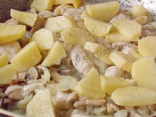 протушим картошку с курицей, грибами и луком