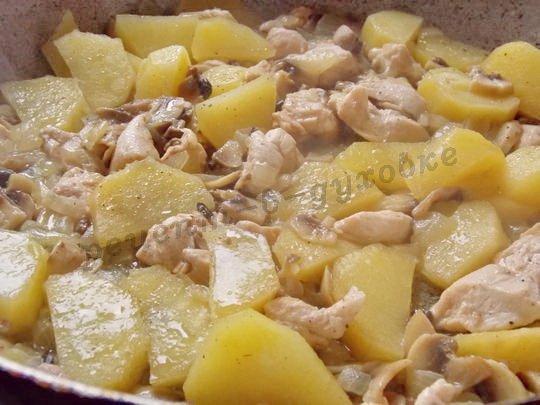 начинка из курицы и шампиньонов с картофелем