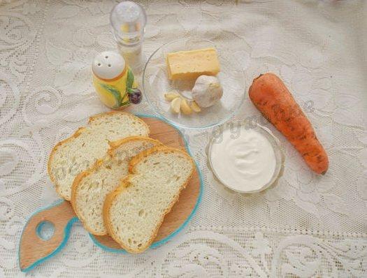ингредиенты для морковных бутербродов
