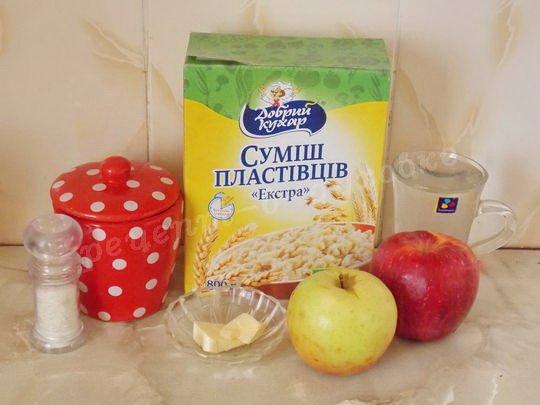 ингредиенты для овсяной каши с яблоками