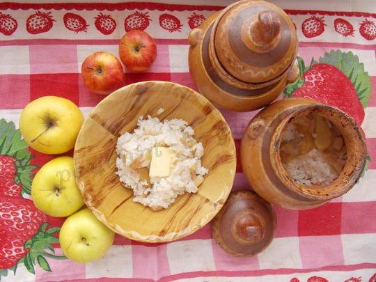 сладкий рис с яблоками в духовке