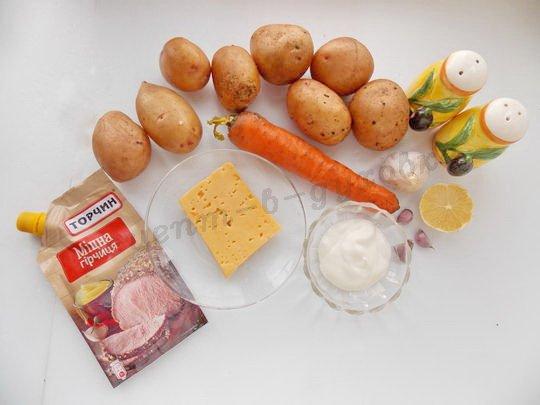 ингредиенты для картошки с морковкой, сыром и чесноком