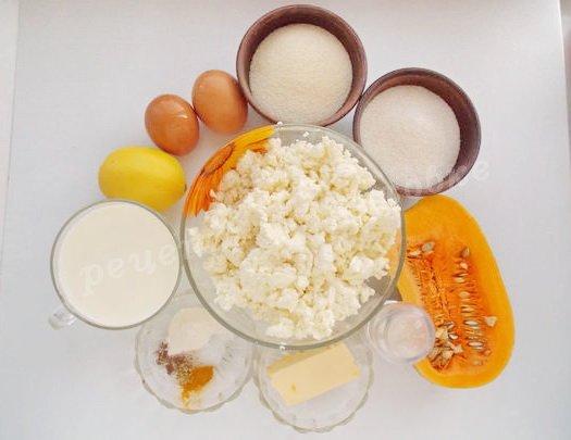 ингредиенты для запеканки с творогом и тыквой