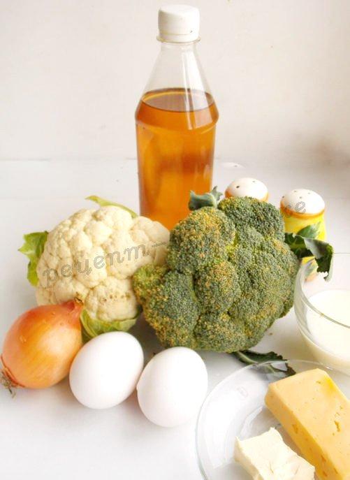 ингредиенты для запеканка из цветной капусты и брокколи