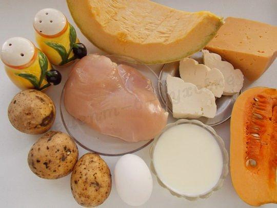 ингредиенты для запеканки из тыквы с курицей и картошкой