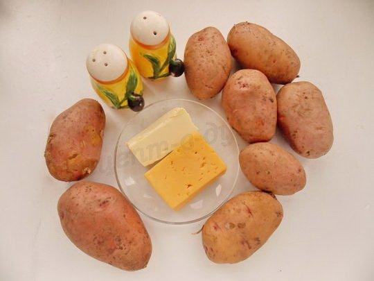 ингредиенты для печёной картошки под сыром