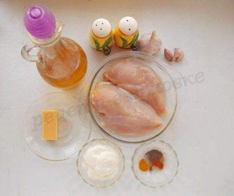 ингредиенты для куриного филе со сметаной