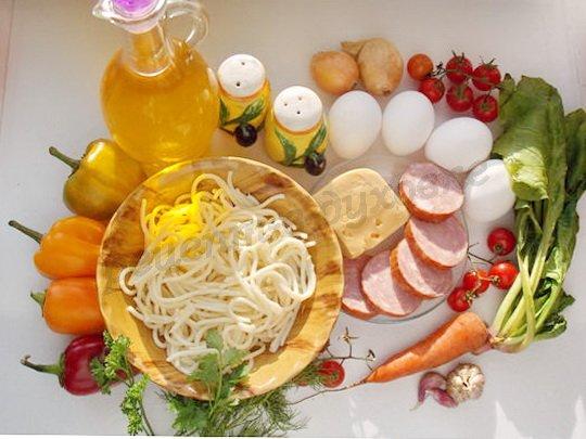 ингредиенты для запеканки из спагетти