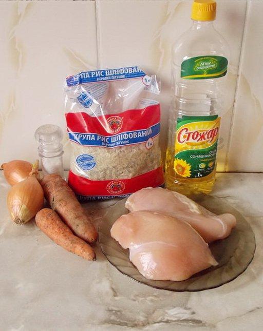 ингредиенты для тефтелей из куриной грудки с рисом