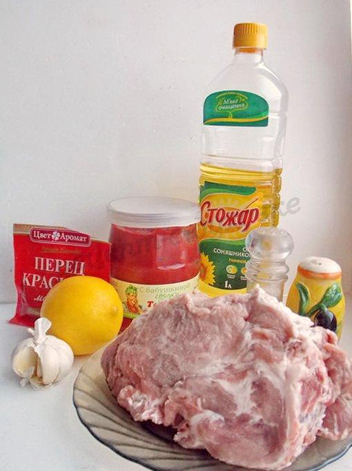ингредиенты для мяса в томатно-лимонном маринаде
