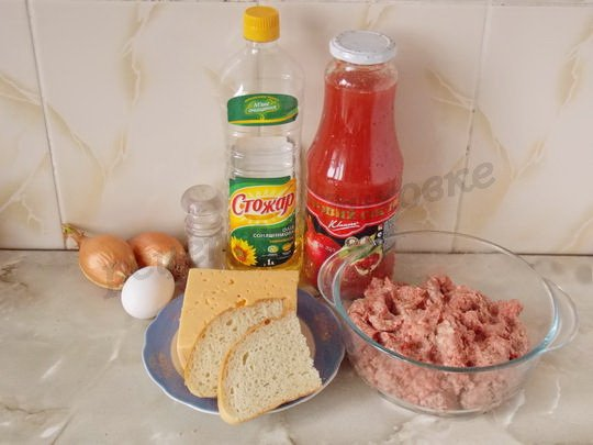 ингредиенты для тефтелей из фарша с сыром