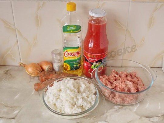 ингредиенты для тефтелей из фарша с рисом