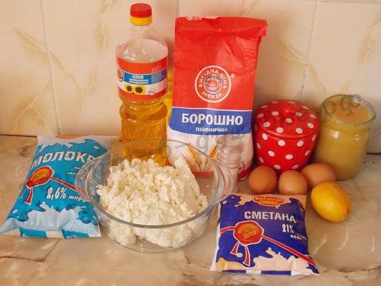 ингредиенты для блинов с творожной начинкой