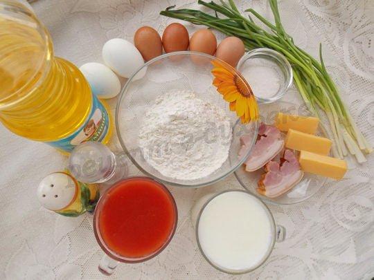 ингредиенты для томатных блинчиков с яичницей