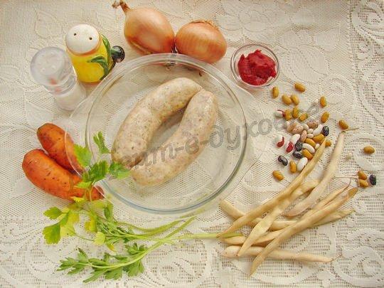 ингредиенты для фасоли с колбасками