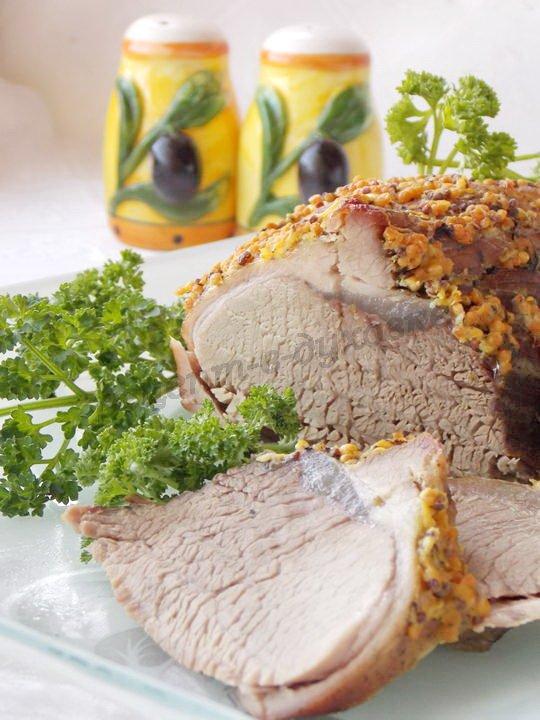 запечённое мясо в горчице