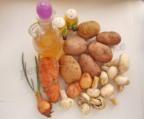 ингредиенты для жаркого из картошки с шампиньонами