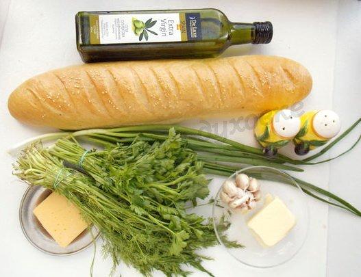 ингредиенты для багета с укропом, чесноком и сыром